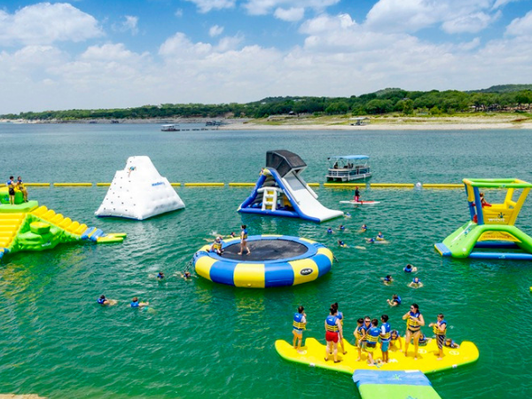 View of Lake Travis Waterloo floating water toys