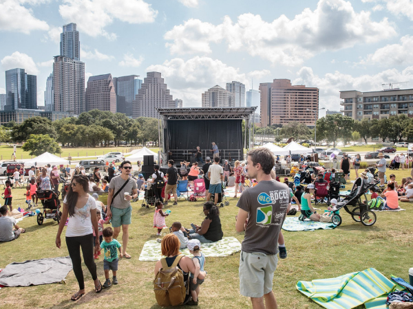 Outdoor concert and view of Austin city from The Long Center is one of the things to do with kids in Austin Texas