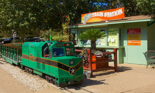 Zilker Zepher Train in front of the train station in Zilker Park